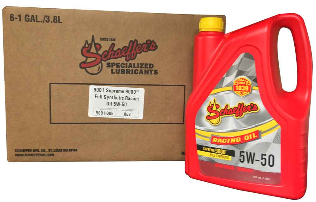 Schaeffer 9001-006 Supreme 9000 Full Synthetic Racing Oil 5W-50 (6-Gallons)