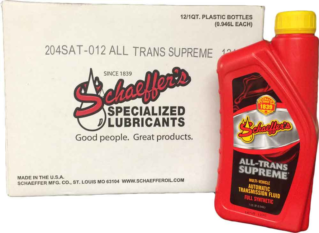 Schaeffer's 204SAT All-Trans Supreme® is formulated with a special blend of synthetic base oils, a highly shear stable viscosity improver and a multi-functional additive package. This unique blend creates a premium, full synthetic, multi-vehicle, automatic transmission fluid that significantly reduces transmission wear. 12 quarts
