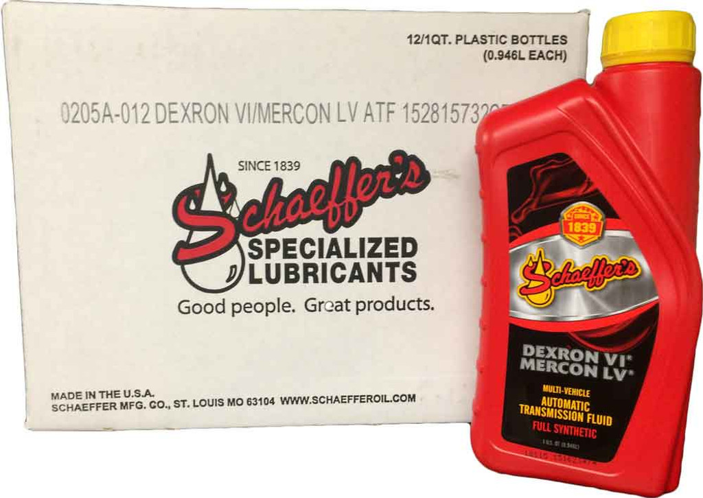 Schaeffer's 205A Dexron VI/MERCON LV Automatic Transmission Fluid is formulated with a special blend of synthetic base oils, a highly shear stable viscosity improver, and a multi-functional additive package. 12 quarts