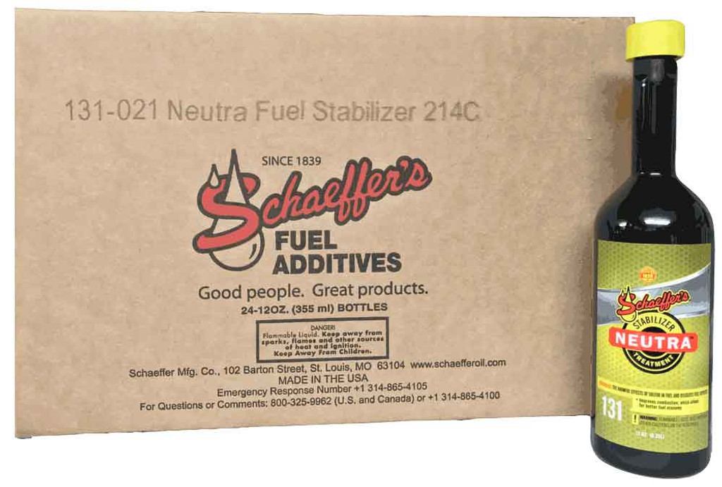 Schaeffer's 131 Neutra TM is a highly concentrated, multi-functional, ashless fuel stabilizer specially formulated for use in all grades of gasoline (including ethanol-blended gasoline), as well as all types of diesel fuel and biodiesel fuels. 24-12oz case