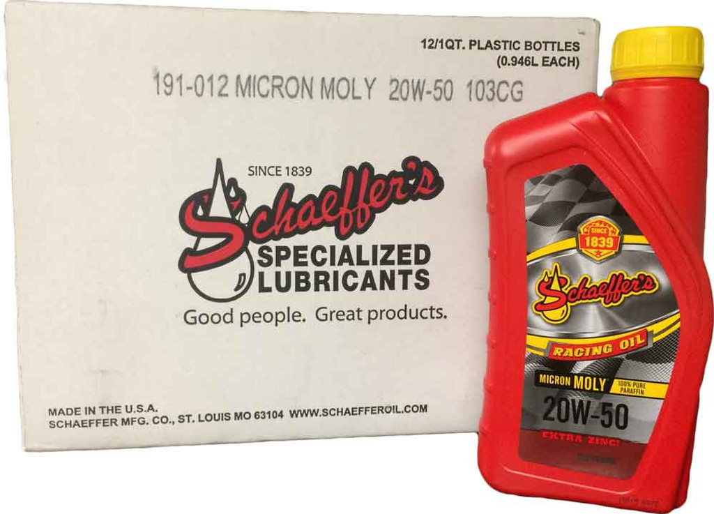 Schaeffer's Micron Moly® Racing Oil is engineered with the highest quality 100% paraffin base stocks, proven friction modifiers Micron Moly® and Penetro®, and a highly advanced proprietary performance racing formula additive package. 12 quarts