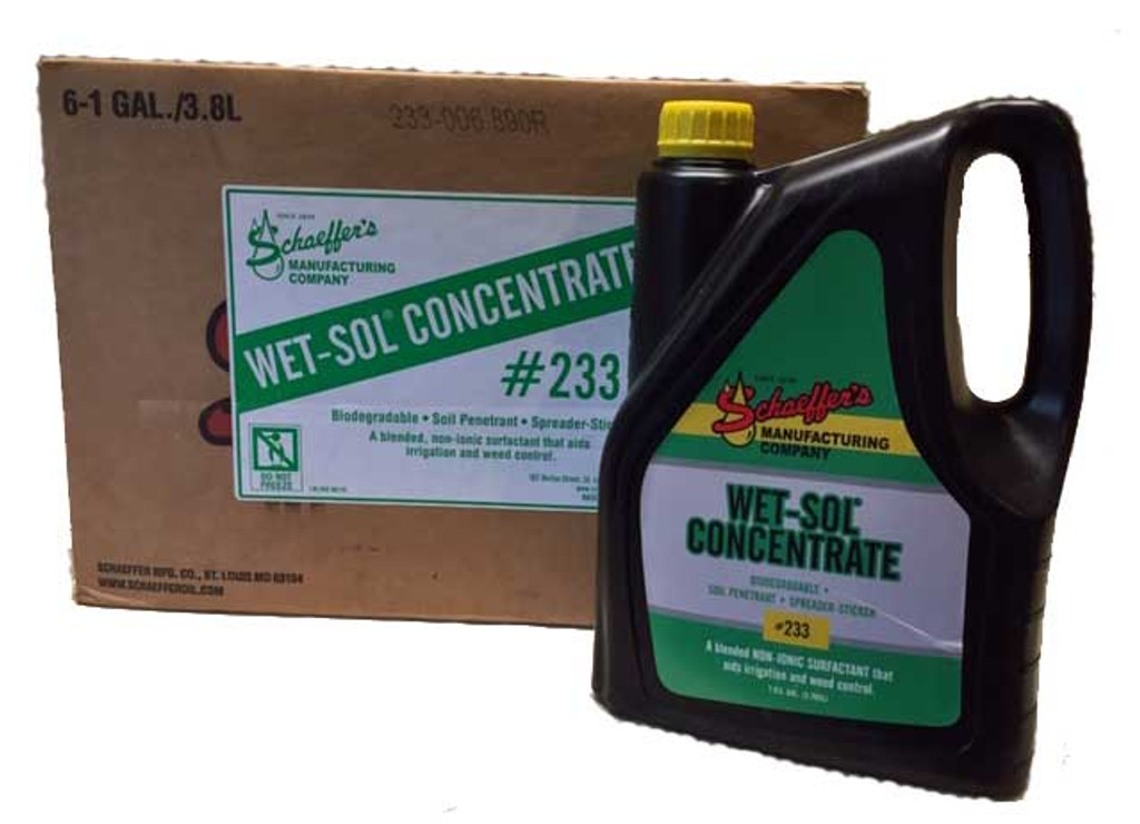 Schaeffer's 233 Wet-Sol® Concentrate is a biodegradable, non-ionic surfactant that aids irrigation and weed control.