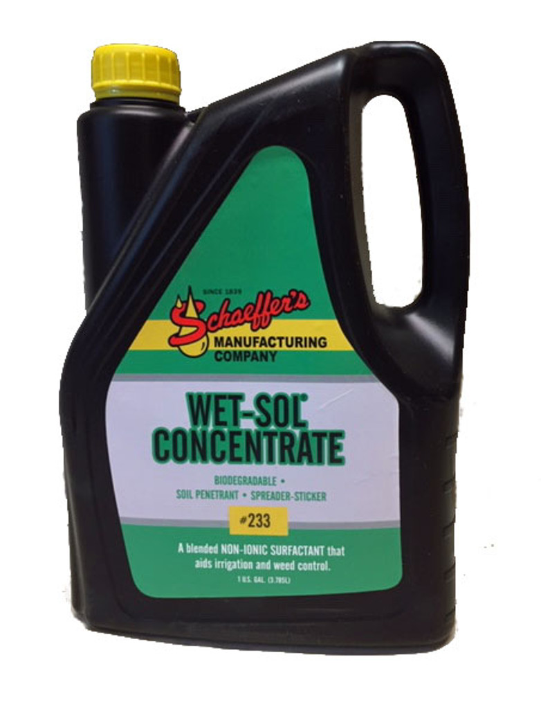 Schaeffer Wet-Sol Concentrate is a biodegradable, non-ionic surfactant that aids irrigation and weed control. Wet-Sol Concentrate is used to enhance the performance of agriculture herbicides, fungicides, and insecticides which call for the addition of surfactants.