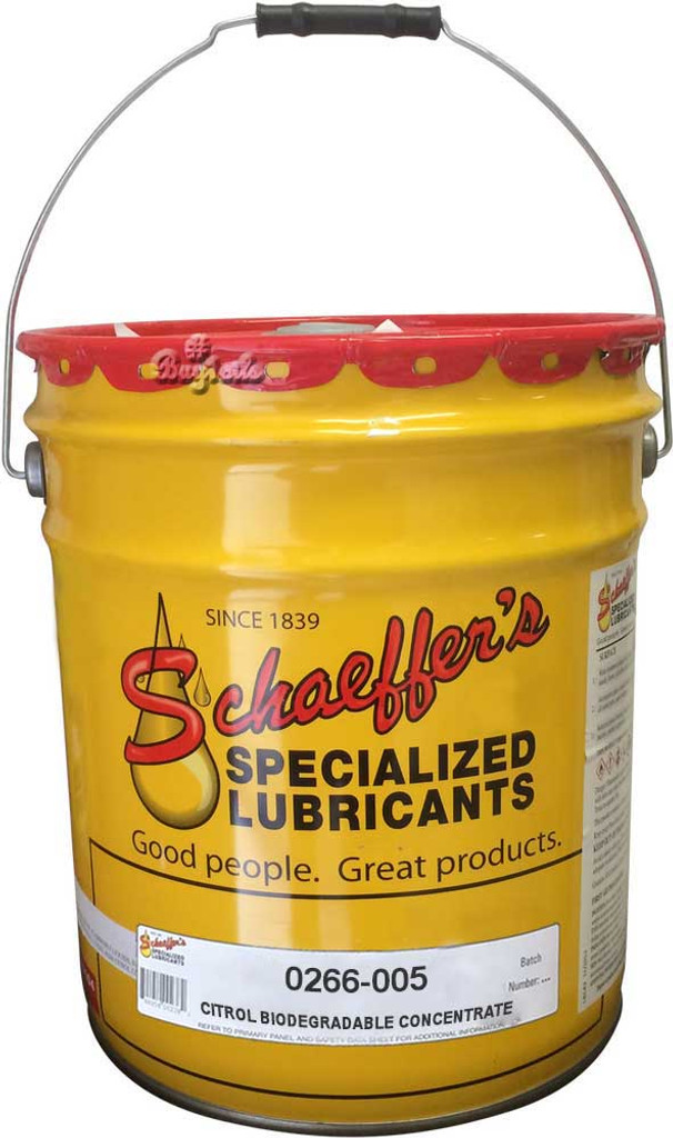 Schaeffer's Citrol® 266 is a concentrated heavy-duty, water dilutable, emulsifiable, industrial strength, biodegradable, citrus base cleaner and degreaser. 5 Gallons