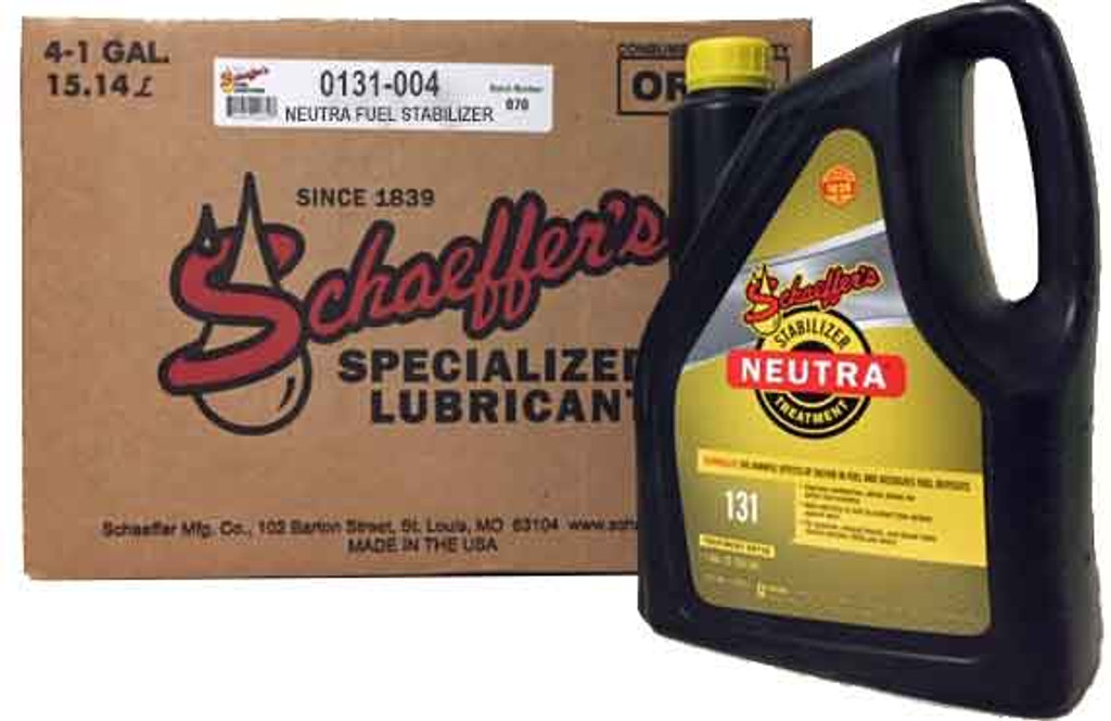Schaeffer's 131 Neutra TM is a highly concentrated, multi-functional, ashless fuel stabilizer specially formulated for use in all grades of gasoline (including ethanol-blended gasoline), as well as all types of diesel fuel and biodiesel fuels. 4 gallons.