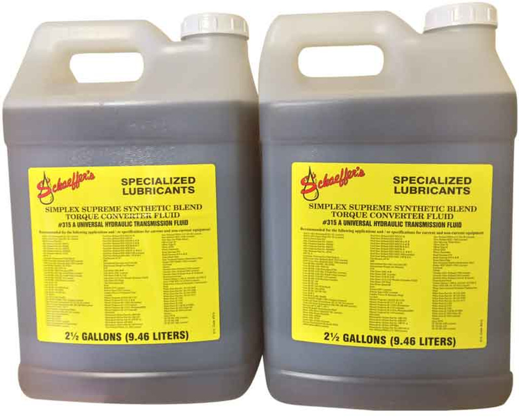 Schaeffer's 315 Simplex Supreme  (para-synthetic) is engineered to meet the widest possible range of equipment manufacturers' performance requirements. 2x2.5 gallons