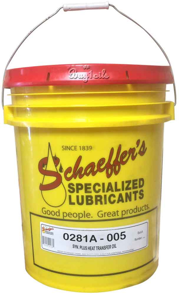 Schaeffer's 281 Synthetic Plus Heat Transfer Oil is a non-corrosive, non-fouling, paraffinic heat transfer fluid that is formulated to provide fast and efficient heat transfer. 5 gallons