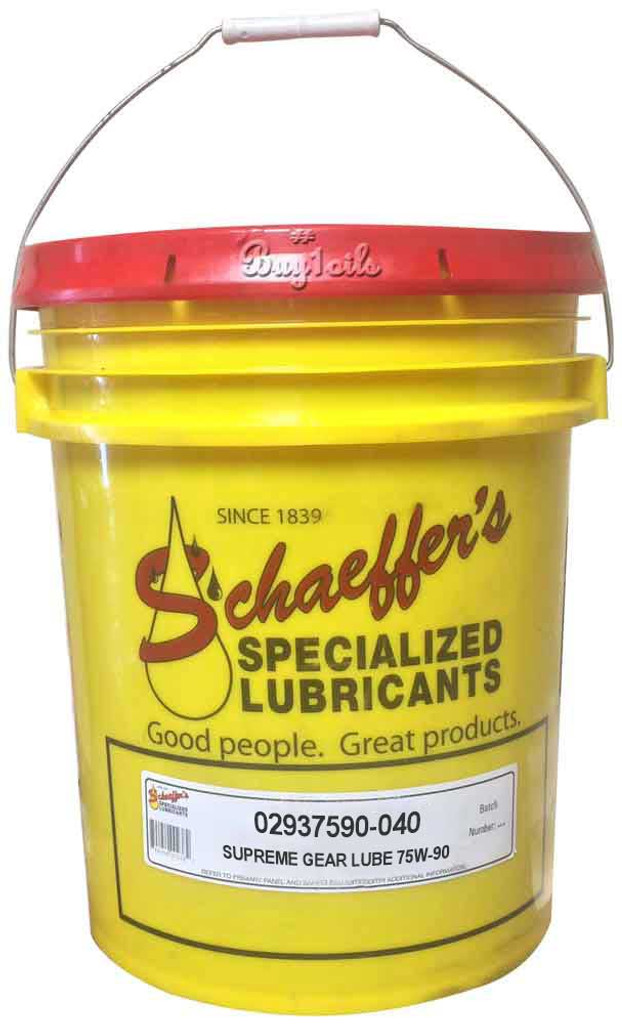 Schaeffer's 293 Supreme Gear Lube SAE 75W-90 provides strong protection against sludge, varnish and carbon deposits – even in high temperatures. This non-corrosive gear lube tenaciously sticks and clings to gears and bearings, resisting water and moisture. 40 LBS