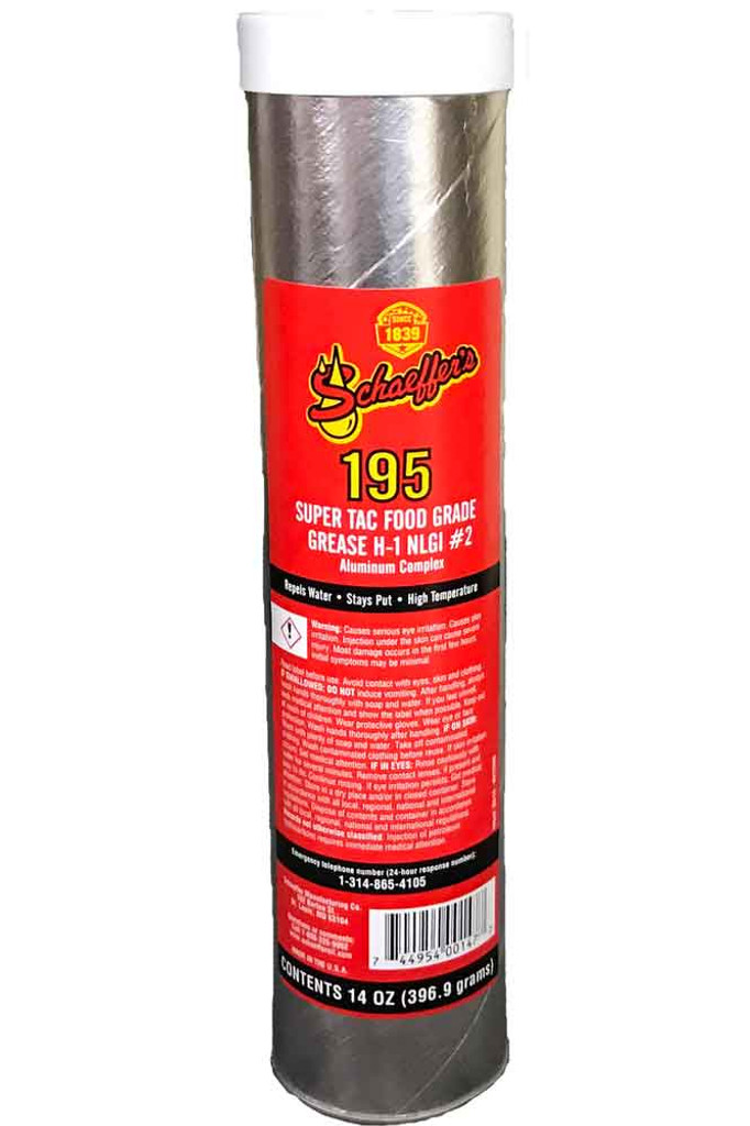 Schaeffer's 195 SuperTac Food Grade Grease H-1 is an extreme pressure, anti-wear, high temperature grease that is specially formulated for use in the lubrication of food, feed and pharmaceutical processing and packaging equipment. NLGI #2. 1 Tube