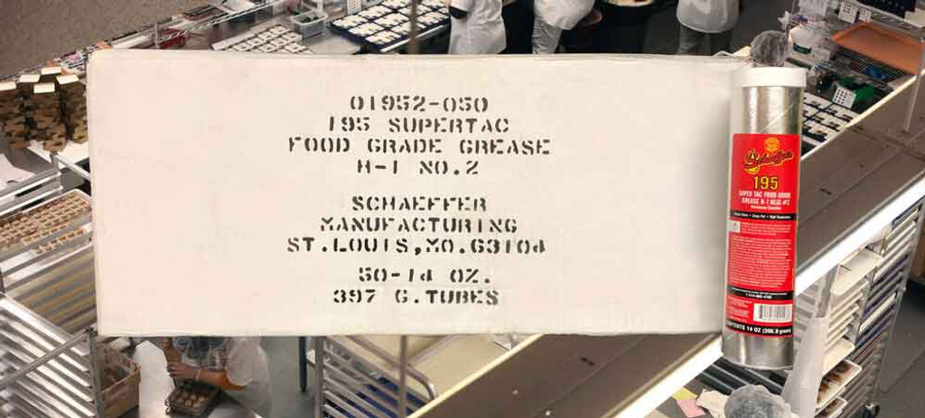 Schaeffer's 195 SuperTac Food Grade Grease H-1 is an extreme pressure, anti-wear, high temperature grease that is specially formulated for use in the lubrication of food, feed and pharmaceutical processing and packaging equipment. NLGI #2. 50 tube case.