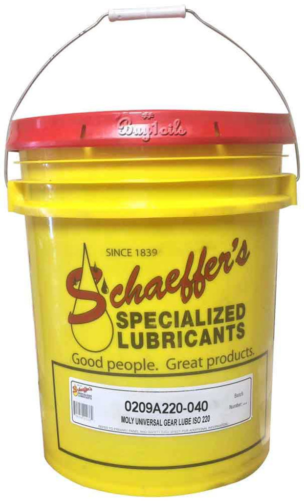 Schaeffer's Moly Universal Gear Lube ISO 220 is a multi-purpose, thermally stable, thermally durable gear lubricant recommended for use in all types of enclosed industrial and automotive gear drives where extreme pressure characteristics are needed.