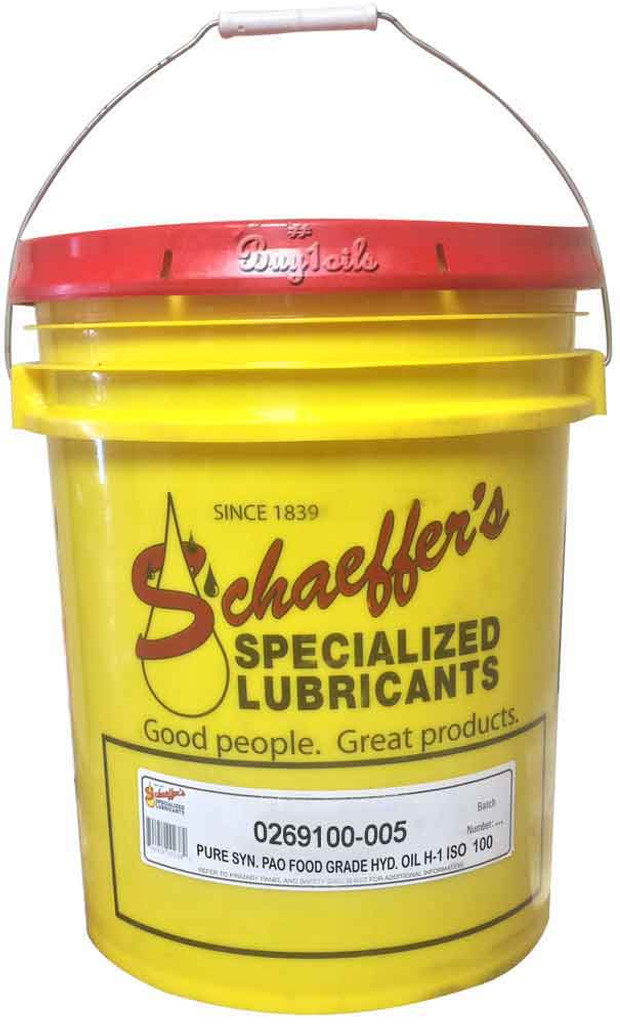 Schaeffer 0269100-005 Pure Synthetic PAO Food Grade Hydraulic Oil H-1 ISO 100 (5-Gallon pail)