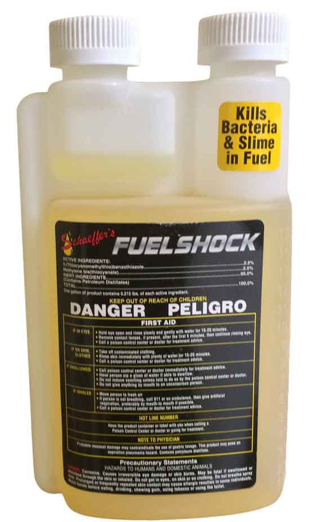 Schaeffer's 285 Fuel Shock is a dual phase oil soluble and water soluble potent broad-spectrum biocide that is designed to prevent and control bacterial and fungal growth that can occur in diesel fuels, biodiesel fuels and home heating oils. 1 pint