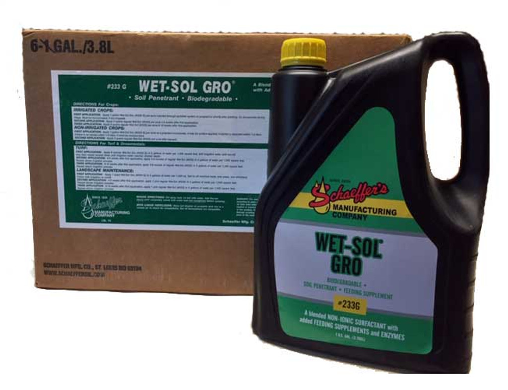 233G Wet-Sol Gro is a biodegradable non-toxic blended non-ionic surfactant type soil conditioner that contains bio-stimulants, B-Complex vitamins, hormones and fermentation products.