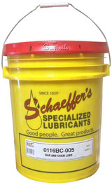 Schaeffer's 116BC Bar & Chain Lube is a premium quality wide temperature range, para synthetic, tacky, heavy-duty, anti-wear oil that is designed for use in the lubrication of chain saw bar and chains, slides and saw-guides. 5 gallons