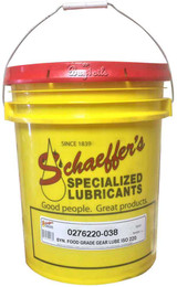 Schaeffer's 276 Synthetic Food Grade Gear Lube H1 is a synthetic blend, anti-wear, extreme pressure food grade oil that is specially formulated for use in the lubrication of food, feed and pharmaceutical processing and packaging equipment. ISO 220. 38lbs