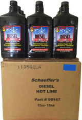 Schaeffer's Diesel Hotline is an emergency treatment for gelled diesel fuel. This quick-acting additive dissolves gelled diesel fuel back into solution and returns the flow in 20 minutes. 12 quart case