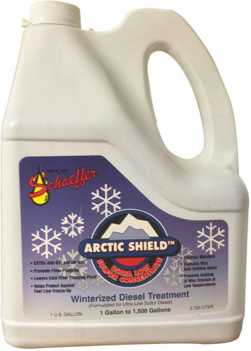 Schaeffer's 300ULSW Arctic Shield + Ultra Low Sulfur Concentrate is a highly concentrated ashless ultra low sulfur compliant diesel fuel additive that is specifically formulated to provide Ultra Low Sulfur Diesel Fuel maximum cold temperature protection against fuel gelling, waxing, and fuel line freeze-up. 1 gallon