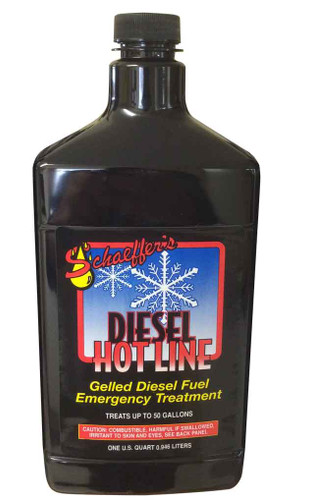 Schaeffer's Diesel Hotline is an emergency treatment for gelled diesel fuel. This quick-acting additive dissolves gelled diesel fuel back into solution and returns the flow in 20 minutes. 1 quart