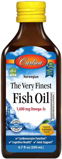 Carlson Labs, Norwegian, The Very Finest Fish Oil, Natural Lemon Flavor, 1,600 mg, 6.7 fl oz (200 ml)