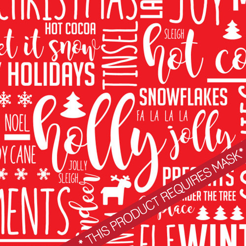 Holiday Text Red HTV