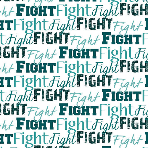 Fight Text Teal HTV