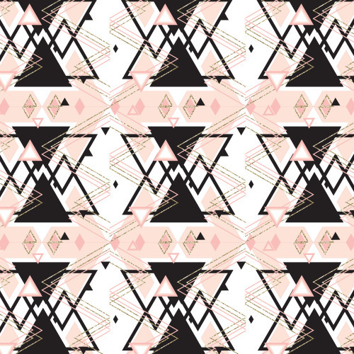 Pink Black Gold Triangles HTV