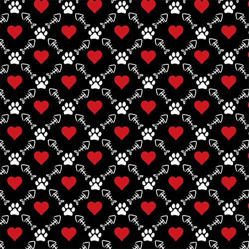 Cat Fish Heart Black HTV