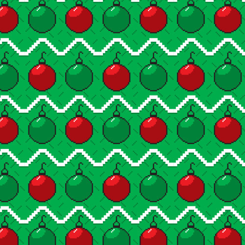 Pixel Red Green Ornament