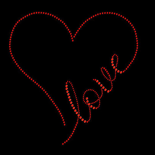 Script Love Heart Red