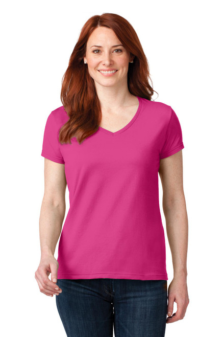 Anvil® Ladies 100% Combed Ring Spun Cotton V-Neck T-Shirt