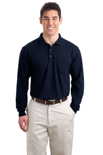 Port Authority®  Long Sleeve Silk Touch Polo with Pocket