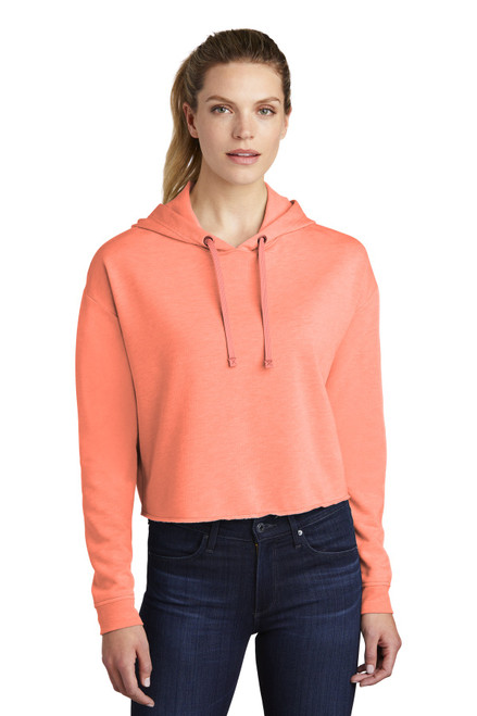 Sport-Tek ® Ladies PosiCharge ® Tri-Blend Wicking Fleece Crop Hooded Pullover