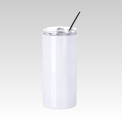 Stainless Steel Skinny Tumbler with Straw 16 oz