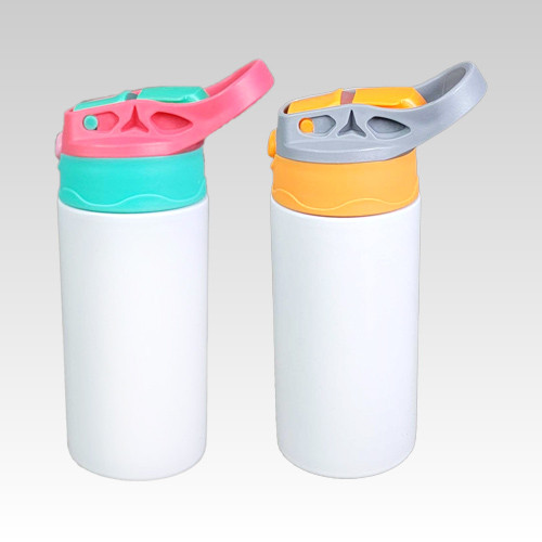 Stainless Steel Bottle With Silicon Straw 12oz