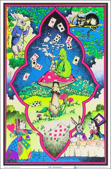 "Wonderland Mushroom Flocked Blacklight Poster - 23"" X 35"""