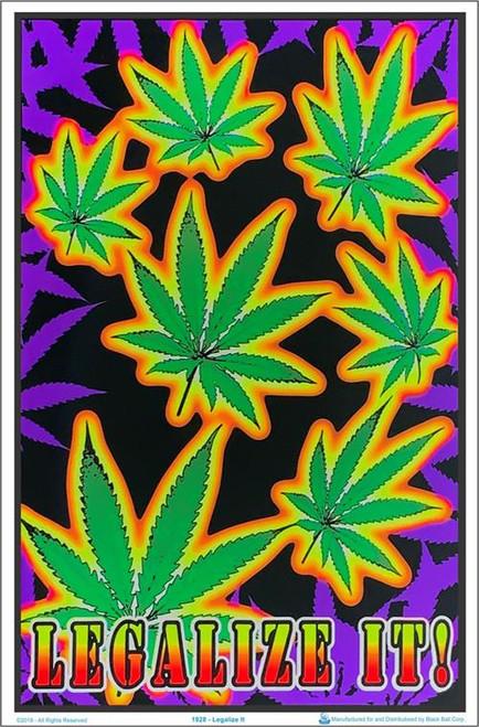 "Legalize It Flocked Blacklight Poster - 23"" X 35"""