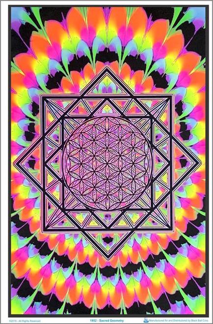 "Sacred Geometry blacklight Poster - 23"" X 35"""