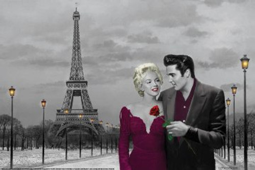"Elvis & Marilyn Paris By: Chris Consani - Poster - 36"" X 24"""