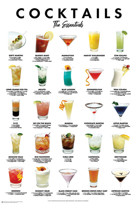 """Cocktails - The Essentials Poster - 24"""" X 36"""""""