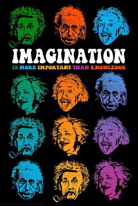 """Einstein """"Faces of Imagination"""" Poster - 24"""" X 36"""""""