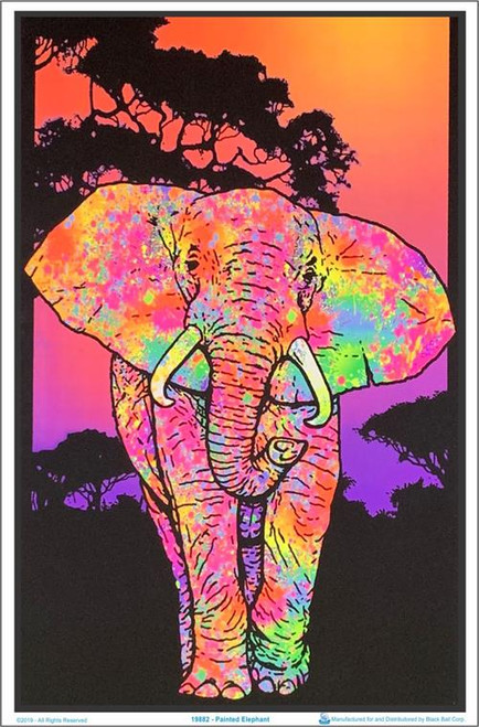 "Painted Elephant Flocked Blacklight Poster - 23"" X 35"""
