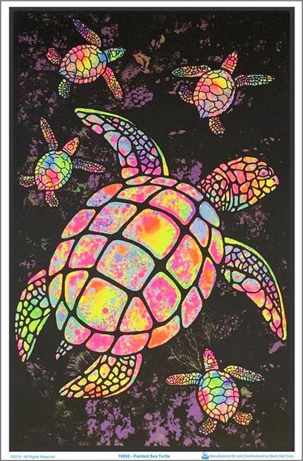 """Painted Sea Turtle Flocked Blacklight Poster - 23"""" X 35"""""""