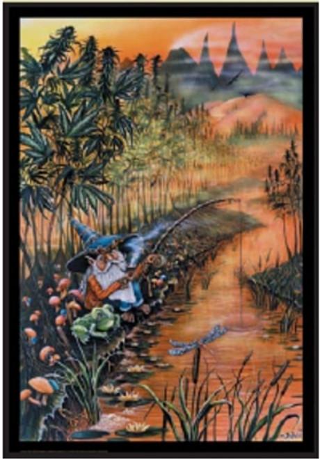 "Gnome Fishin Non Flocked Blacklight Poster - Mike Dubois - 24"" X 36"""
