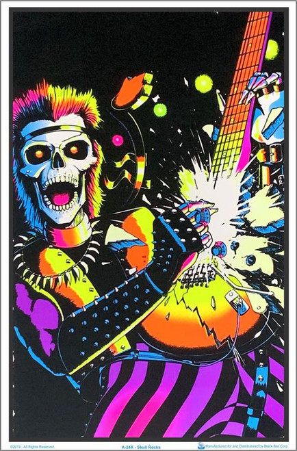 "Skull Rocks Guitarist Blacklight Poster - 23"" X 35"""
