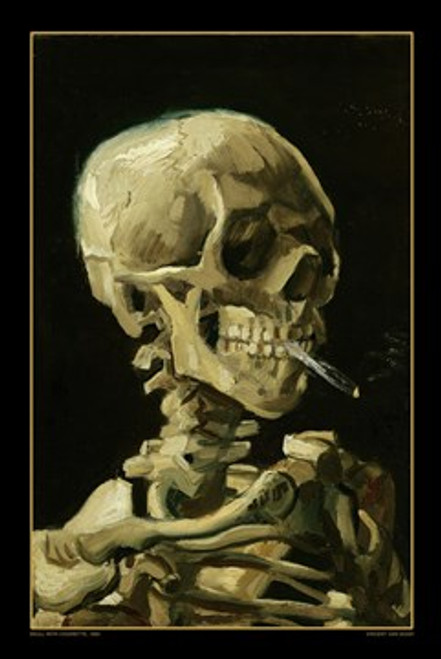 """Van Gogh - Skull With Cigarette Poster - 24"""" X 36"""""""