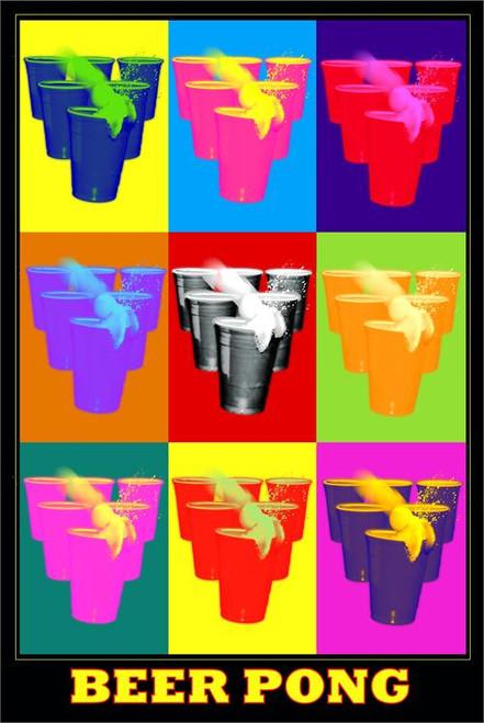"""Beer Pong Pop Art  Poster - 24"""" X 36"""""""
