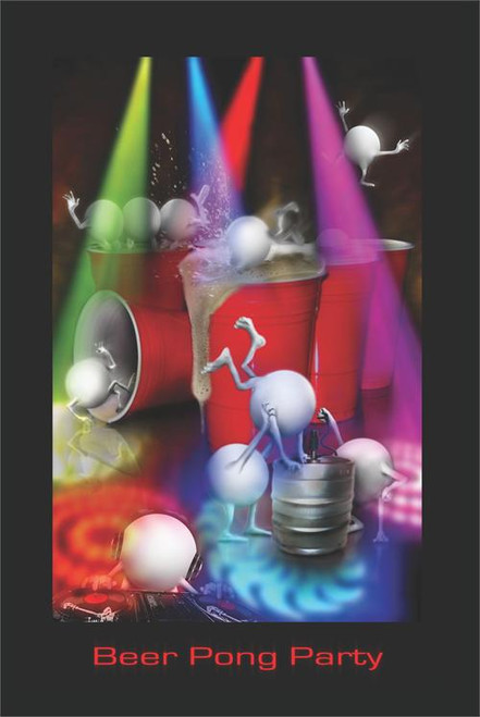 """Beer Pong Party Poster - 24"""" X 36"""""""