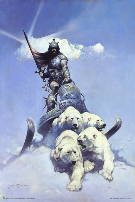"Silver Warrior - By: Frank Frazetta - Poster - 24"" X 36"""