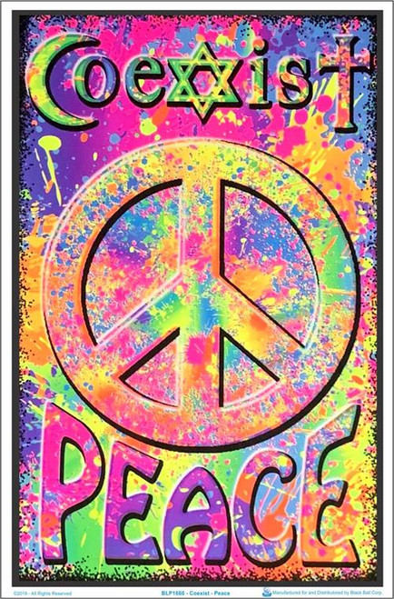 "Coexist/Peace Blacklight Poster - 23"" X 35"""